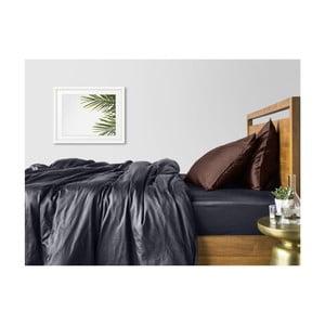 Šedo-hnědé bavlněné povlečení na dvoulůžko s šedým prostěradlem COSAS Muno, 200 x 220 cm