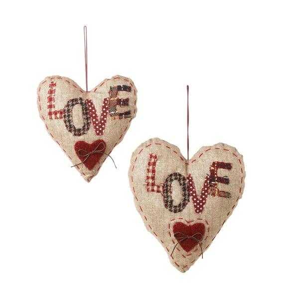 Sada 2 závěsných dekorací Love Hearts