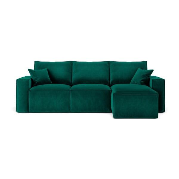 Tmavě zelená rohová pohovka Cosmopolitan Design Florida, pravý roh