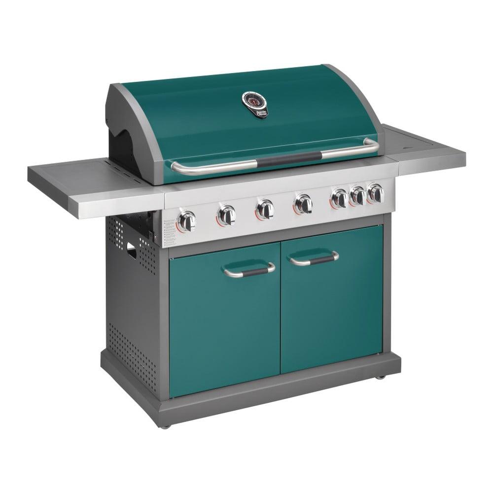 Zelený plynový gril s 6 samostatně ovladatelnými hořáky, teploměrem a bočním ohřívačem Jamie Oliver Pro