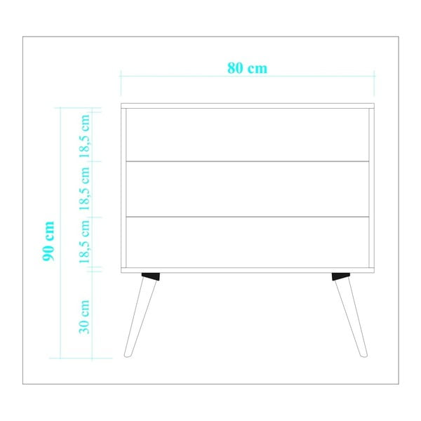 Comodă imprimată digital cu 3 sertare Homemania Tree