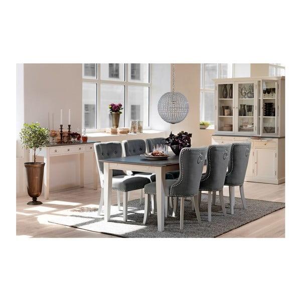 Bílý jídelní stůl s šedou deskou Folke Viktoria, 190x95cm