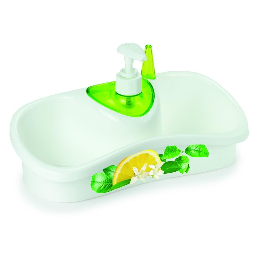 Zelený stojan na mytí nádobí s dávkovačem saponátu Snips