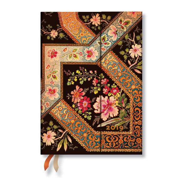 Filigree Floral Ebony Horizontal 2019-es határidőnapló, 13 x 18 cm - Paperblanks
