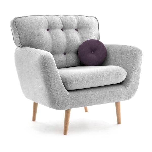 Jasnoszary fotel z fioletową poduszką VIVONITA Malva