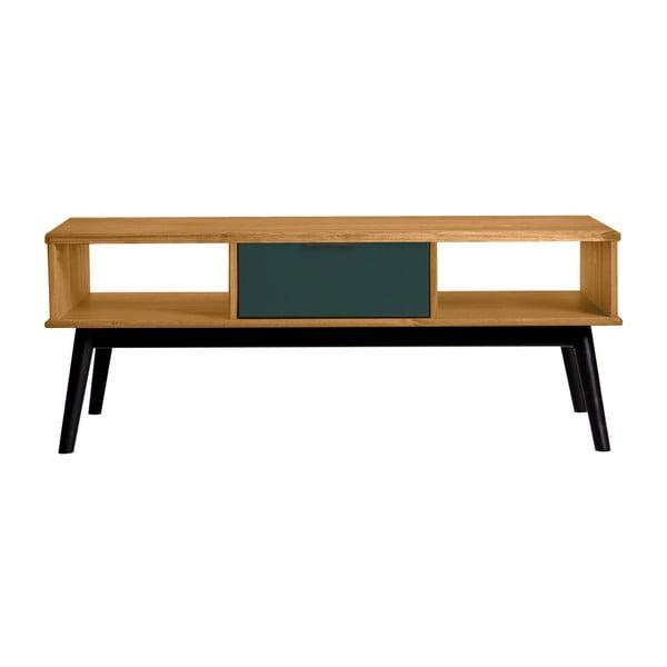 Stolik z zieloną szuflada z drewna sosnowego Marckeric Lucie
