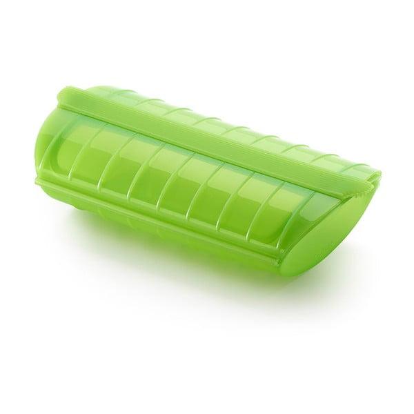 Zelená silikonová nádoba na vaření s táckem v páře pro 1 - 2 porce Lékué Steam Case