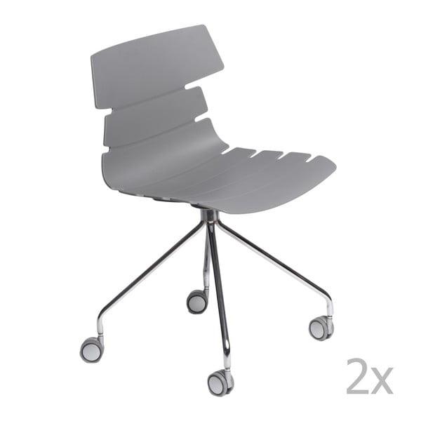 Sada 2 šedých židlí D2 Techno Roll