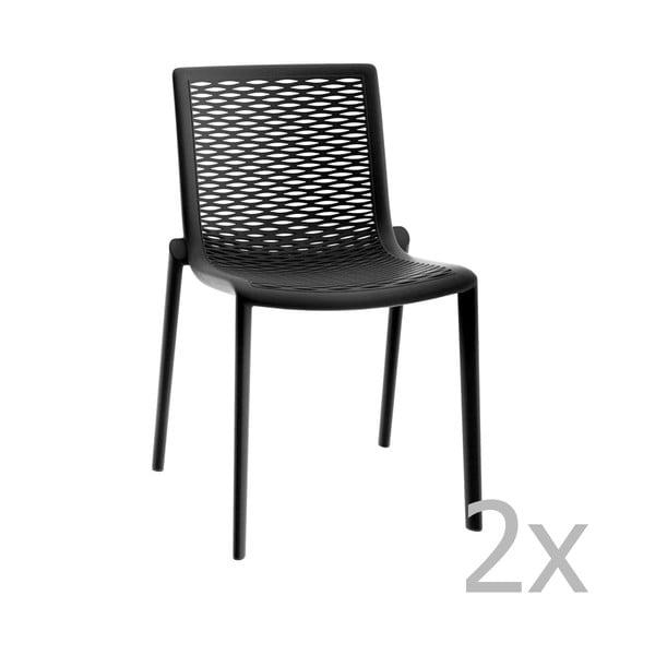 Sada 2 černých zahradních jídelních židlí Resol Net-Kat