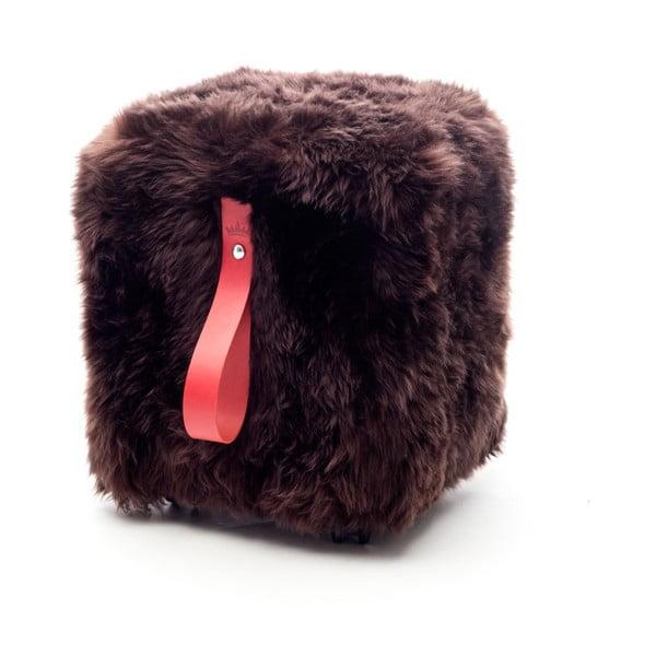 Hnědo-červený hranatý puf z ovčí vlny Royal Dream