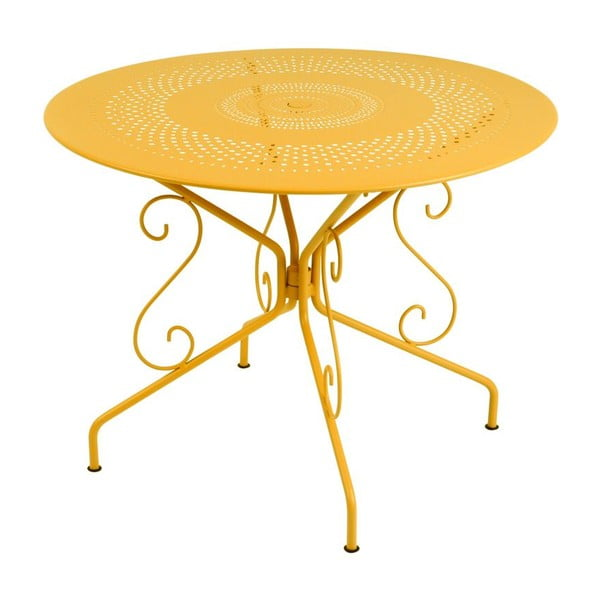 Masă din metal Fermob Montmartre, Ø 96 cm, galben