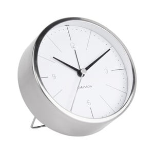 Ceas alarmă Karlsson Normann, Ø 10 cm, alb - gri