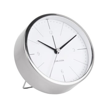 Ceas alarmă Karlsson Normann, Ø 10 cm, alb - gri imagine