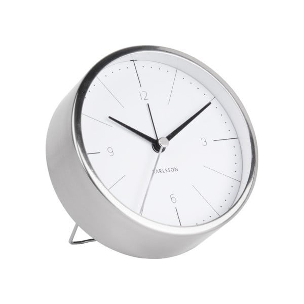 Bílo-šedý budík Karlsson Normann, Ø 10 cm