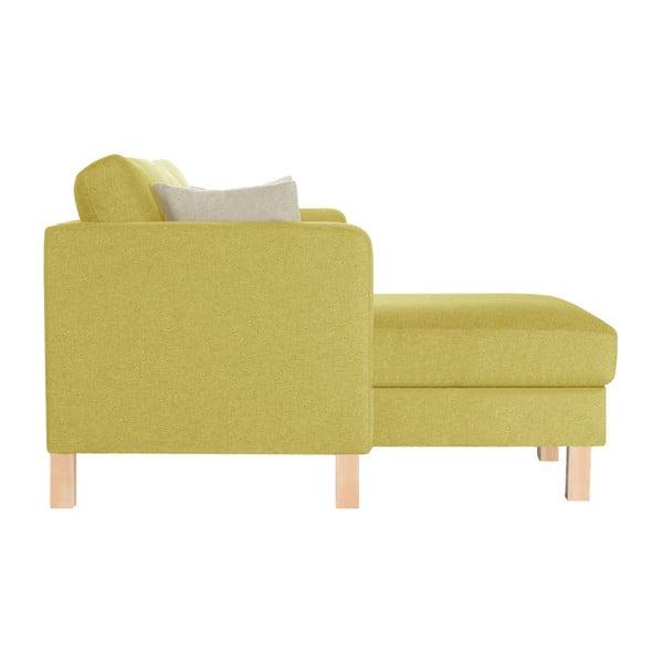 Žlutá pohovka s lenoškou na levé straně a 2 krémovými polštáři Stella Cadente Maison Canoa
