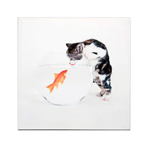 Dřevěná cedule Cat and Fish, 30x30 cm