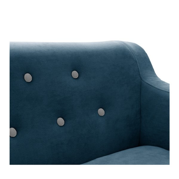 Námořnicky modrá dvoumístná pohovka s černými nohami Vivonita Kelly