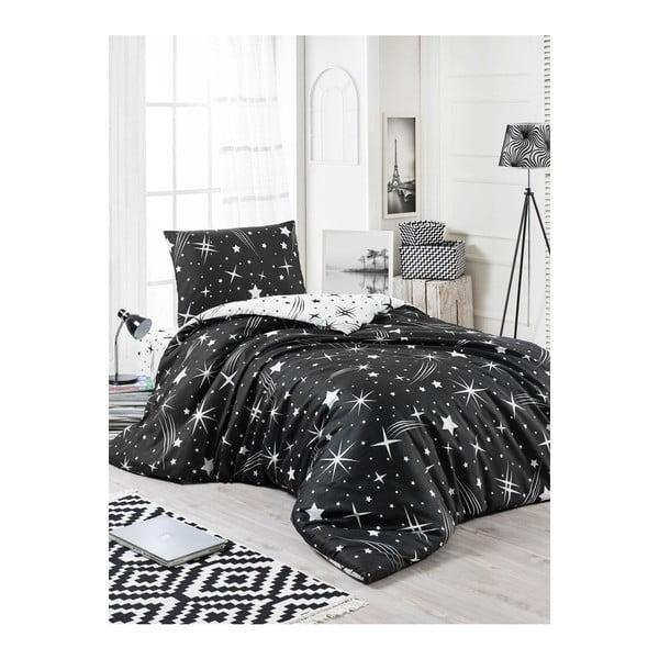 Černé povlečení s prostěradlem na jednolůžko Starry Night, 160 x 220 cm
