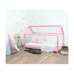 Pat pentru copii, din lemn de molid Benlemi Tery, 80x190cm, roz