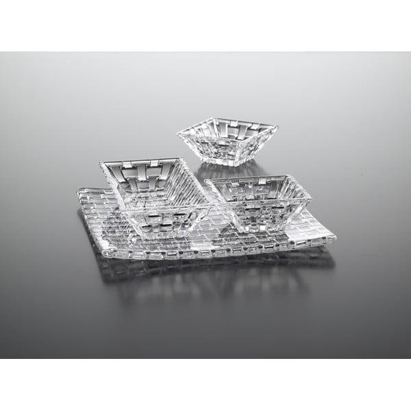 Set 3 servírovacích misek a podnosu z křišťálového skla Nachtmann Bossa Nova