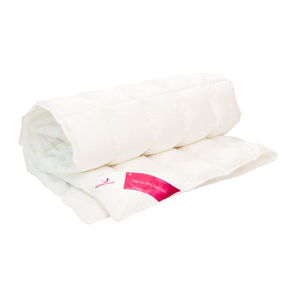 Bílá ochranná podložka na matraci s prachovým peřím Feeling Green Future, 140x200cm