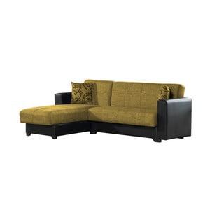 Canapea colț extensibilă cu spaţiu de depozitare, Esidra Chaise Longue, galben - negru