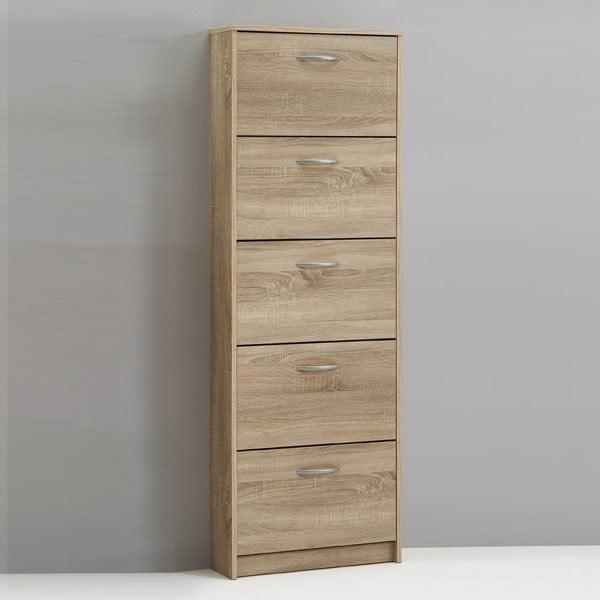 Botník v dekoru dubového dřeva s 5 výklopy 13CasaVienna