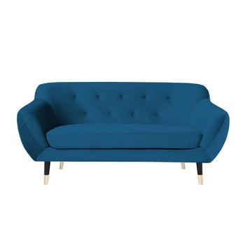 Canapea cu 2 locuri Mazzini Sofas AMELIE cu picioare negre, albastru de la Mazzini Sofas