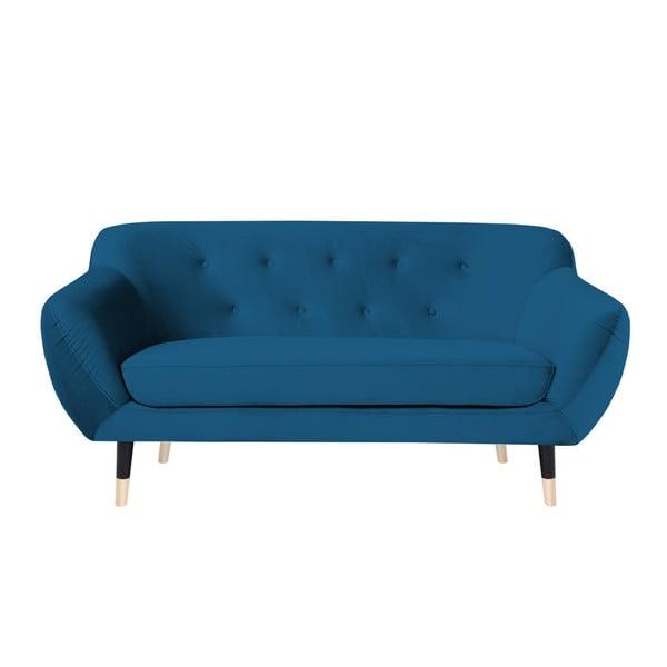 Modrá dvoumístná pohovka s černými nohami Mazzini Sofas Amelie