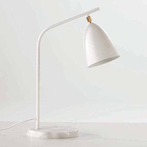 Bílá stolní lampa z kovu a mramoru Thai Natura