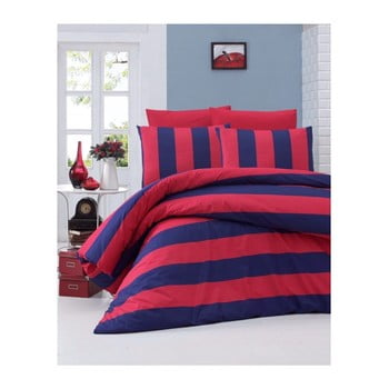 Lenjerie de pat din bumbac ranforce Braid, 140 x 200 cm, roșu-albastru de la Victoria