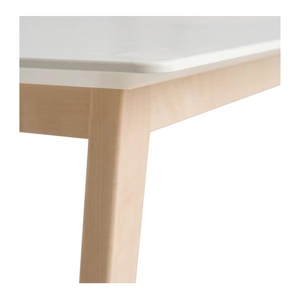 Bílý ručně vyráběný konferenční stolek z masivního březového dřeva Kiteen Kolo