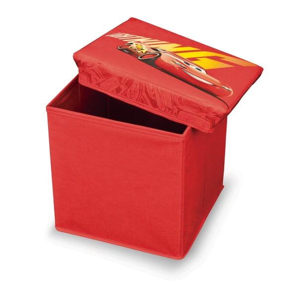 Czerwony puf ze schowkiem na zabawki Auta Domopak Cars, dł. 30cm