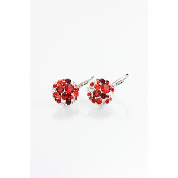 Náušnice Swarovski Crystals Laura Red, 14 mm