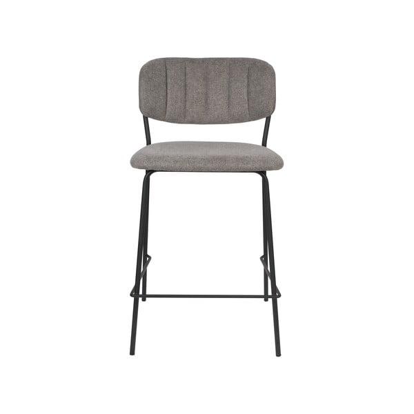 Set 2 scaune de bar cu picioare negre White Label Jolien, înălțime 89 cm, gri