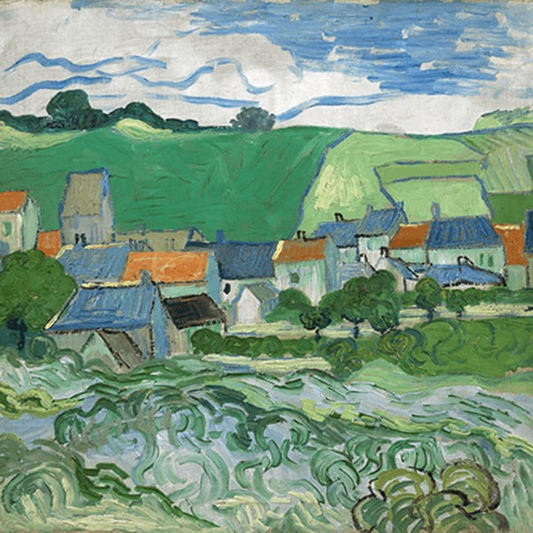 Obraz Vincenta van Gogha - View of Auvers, 80x80 cm