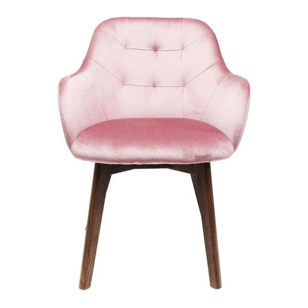 Růžová židle s nohami z bukového dřeva Kare Design