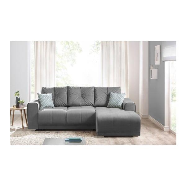 Lisbona szürke kinyitható kanapé, jobb sarok - Bobochic Paris