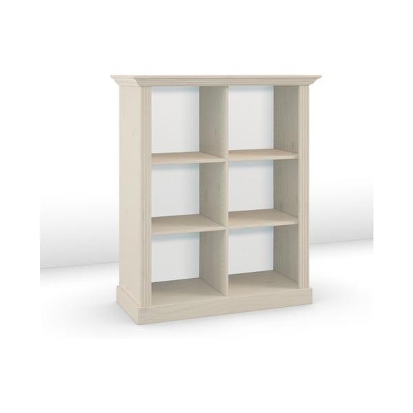 Mléčně bíle lakovaná knihovna z borovicového dřeva Steens Monaco, výška 131,4cm