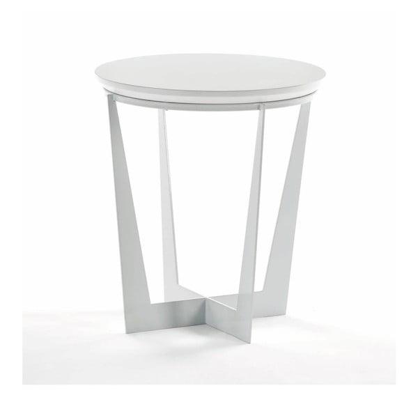 Bílý odkládací stolek ze dřeva Thai Natura, ⌀ 50 cm