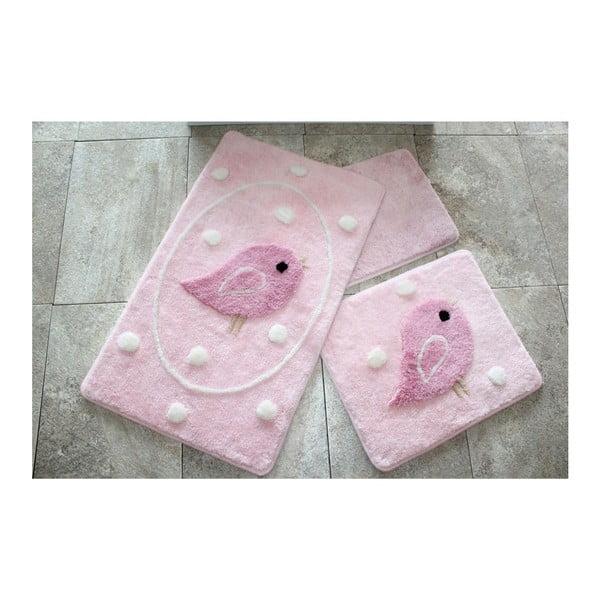 Alouette 3 db-os rózsaszín fürdőszobai kilépő szett