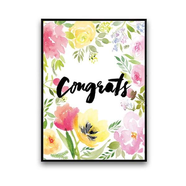 Plakát s květinami Congrats, 30 x 40 cm