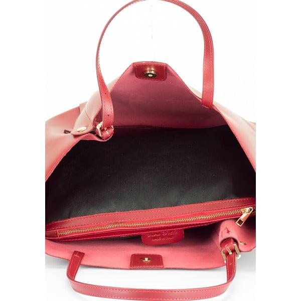 Červená kožená kabelka Lisa Minardi Eunice