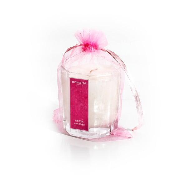 Lumânare parfumată cu aromă de frezie și iasomie Bahoma London Octagonal Cangle in Organza Bag