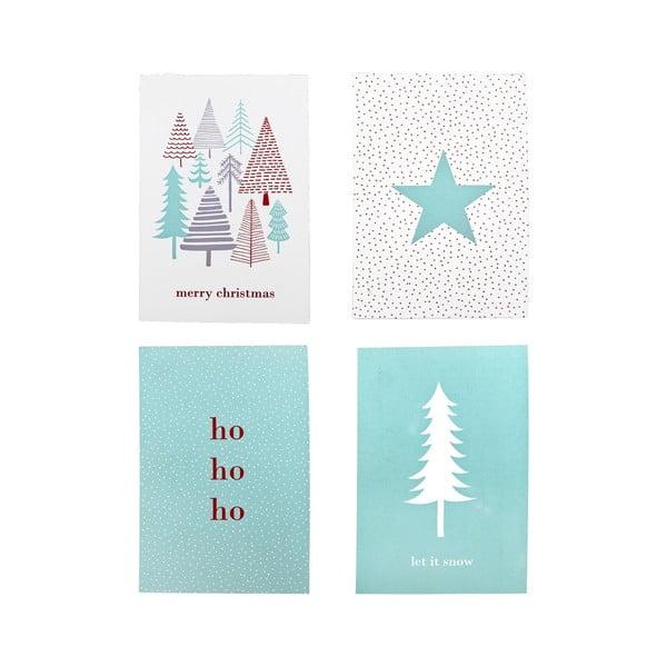 Set 4 felicitări din hârtie pentru Crăciun Bloomingville Christmas