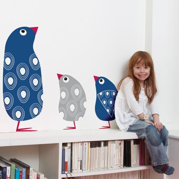 Samolepka na zeď Blue and grey penguins, 90x95 cm