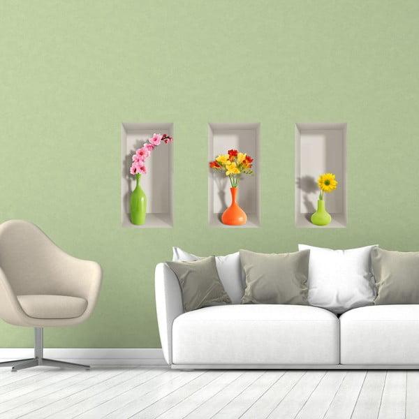 Set 3 autocolante 3D pentru perete Ambiance Spring Flowers