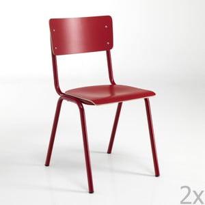 Sada 2 červených jídelních židlí Tomasucci  School