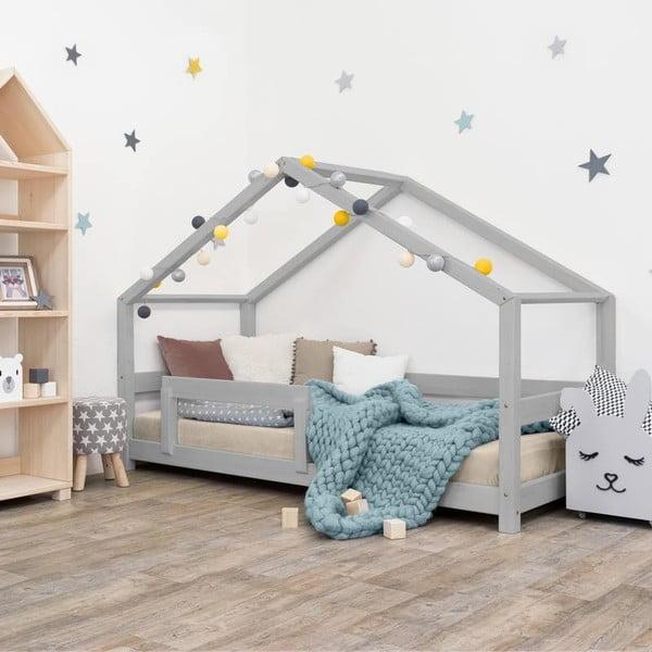 Šedá dětská postel domeček s bočnicí Benlemi Lucky, 90 x 200 cm