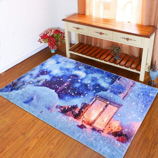 Modrý koberec Vitaus Lantern, 50×80 cm